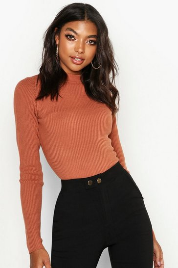 Terracotta Tall Ribbed Turtle Neck Jumper