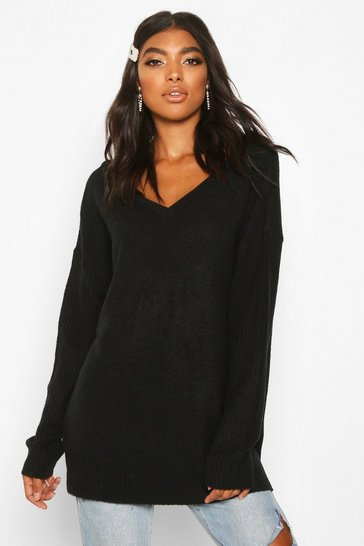 Black Tall Jumper With V Neck Detail Front And Back