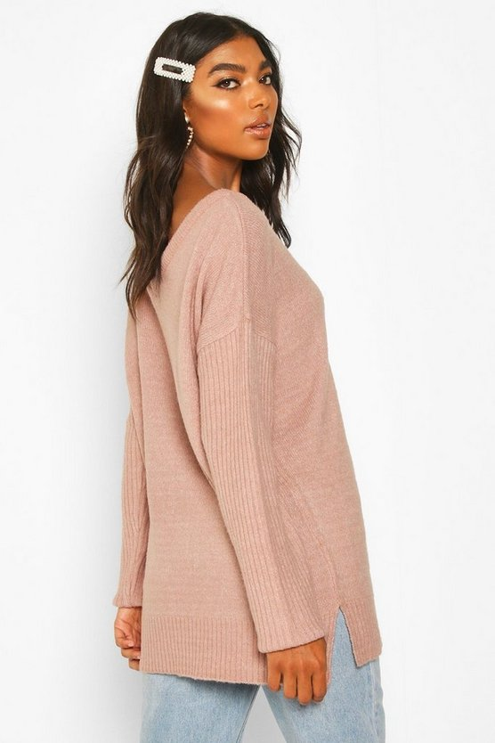 Tall Jumper With V Neck Detail Front And Back