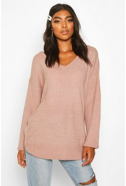 Blush Tall Jumper With V Neck Detail Front And Back