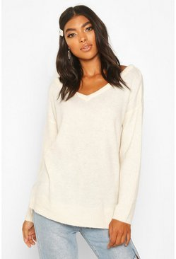 Ivory Tall Jumper With V Neck Detail Front And Back