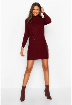 Womens Berry Tall Ribbed Knitted Jumper Dress