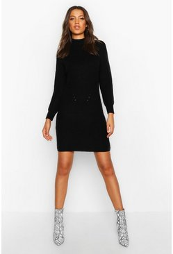 Black Tall Ribbed Knitted Jumper Dress