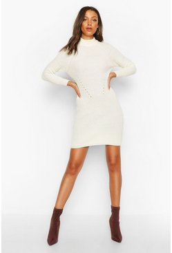 Ivory Tall Ribbed Knitted Jumper Dress