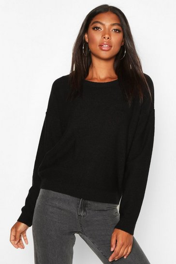 Black Tall Boxy Scoop Neck Jumper