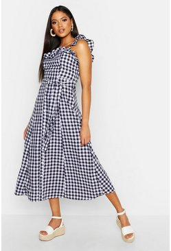 Womens Black Tall Off The Shoulder Gingham Skater Midi Dress