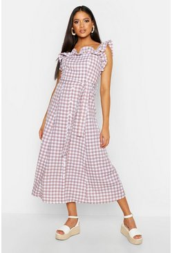 Womens Peach Tall Off The Shoulder Gingham Skater Midi Dress