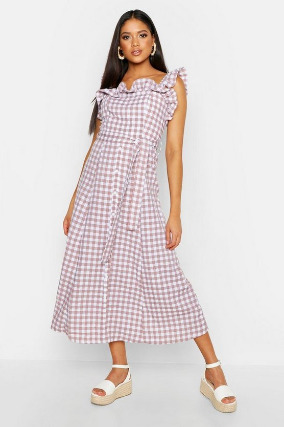 Tall Off The Shoulder Gingham Skater Midi Dress, Peach, Donna