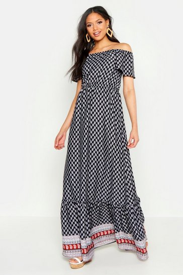 Womens Cream Tall Off The Shoulder Border Print Maxi Dress