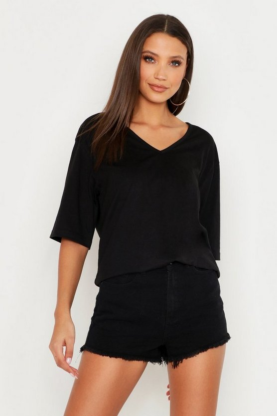 Womens Black Tall Basic Cotton T-Shirt