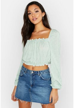 Tall Off The Shoulder Ditsy Floral Peasant Top, Sage