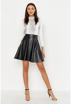 Womens Black Tall Pu Skater Skirt
