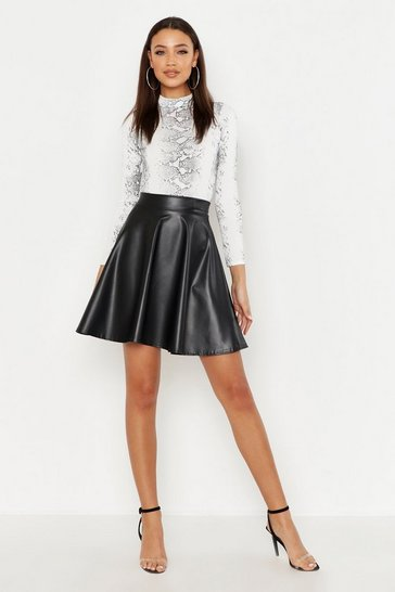 Black Tall PU Skater Skirt