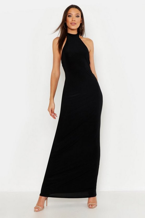 Black Tall High Neck Maxi Dress