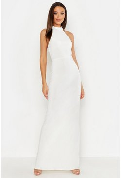 Womens Ivory Tall High Neck Maxi Dress