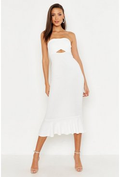 Womens Ivory Tall Bandeau Fishtail Midi Dress
