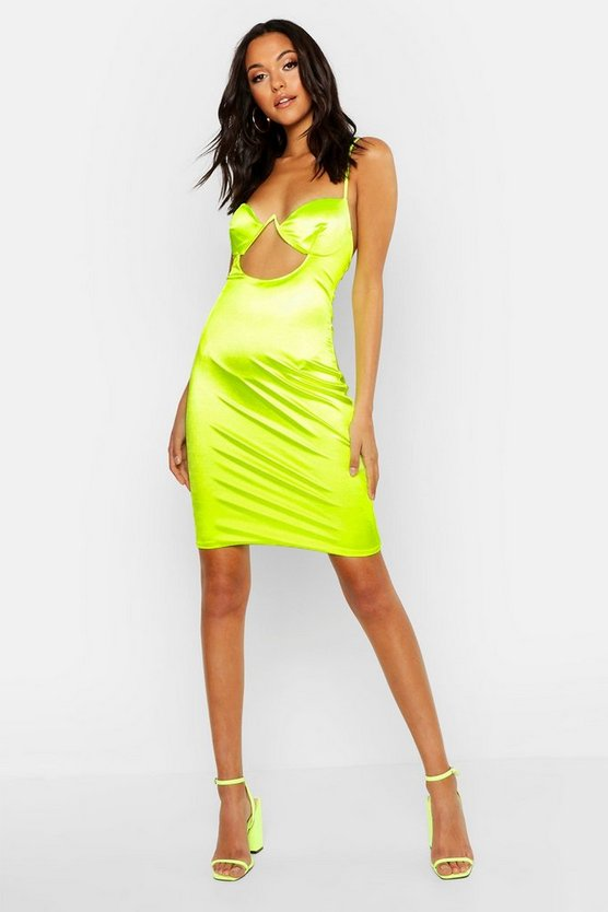 Womens Lime Tall Satin Cut Out Detail Cupped Bodycon Dress