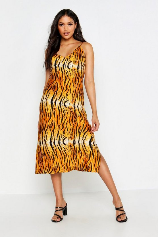 Womens Orange Tall Tiger Print Satin Slip Dress