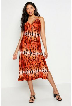 Womens Red Tall Tiger Print Satin Slip Dress