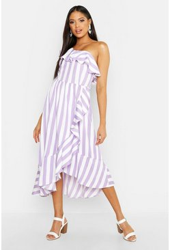 Womens Lilac Tall Textured Stripe Ruffle Hem Midi Dress