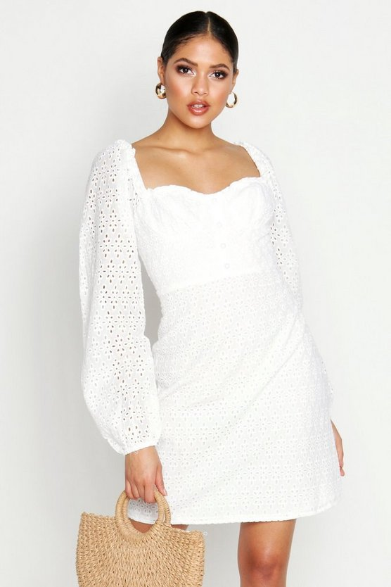 Womens White Tall Broderie Anglaise Sweetheart Neck Mini Dress