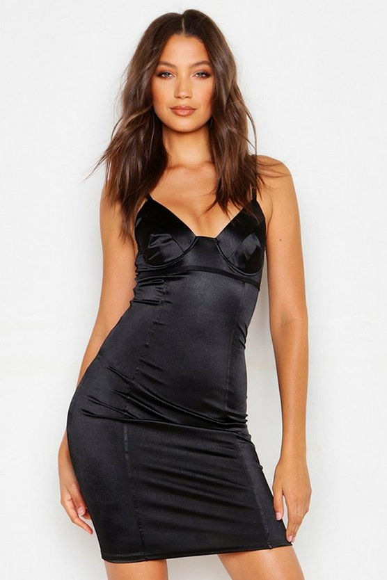 Womens Black Tall Satin Cupped Bodycon Dress