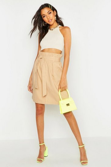 Womens Camel Tall Tie Waist Twill Midi Skirt