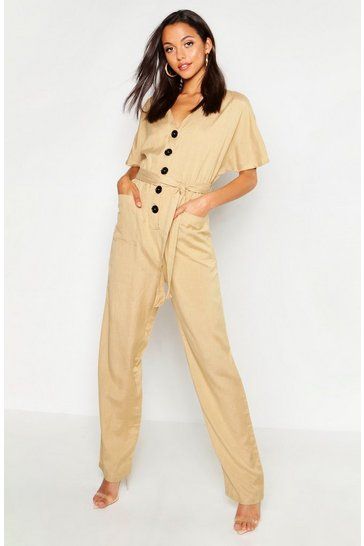 Womens Stone Tall Button Front Twill Boiler Suit