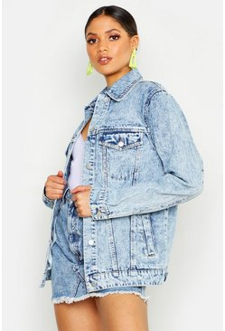 Womens Light blue Tall Acid Wash Boyfriend Denim Jacket