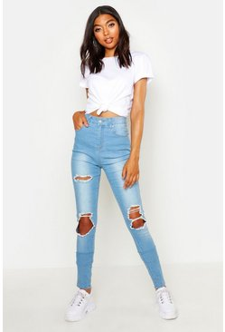 Light blue Tall Heavy Rip Skinny Jean