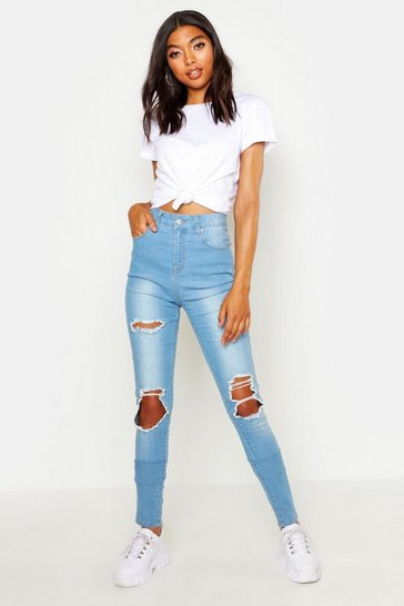 Womens Light blue Tall Heavy Rip Skinny Jean