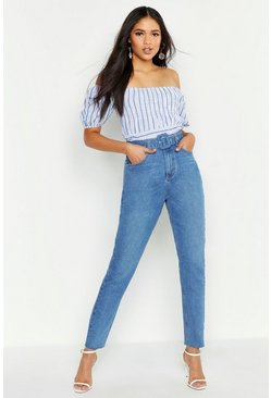 Womens Mid blue Tall Self Fabric Belt Straight Leg Jeans