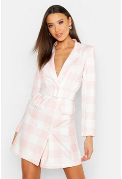 Womens Pink Tall Tie Waist Check Blazer Dress