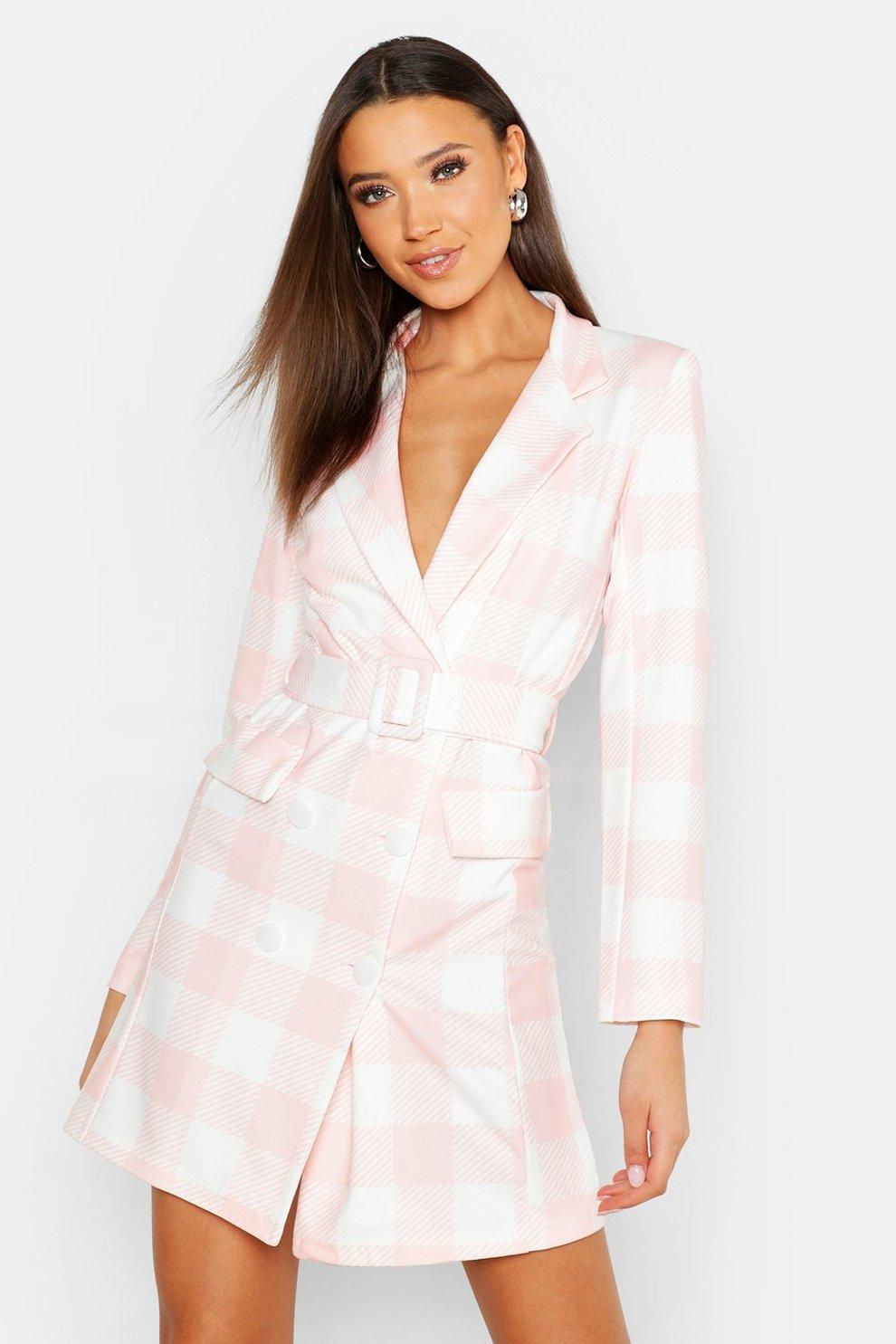 13dabfda3e Womens Pink Tall Tie Waist Check Blazer Dress
