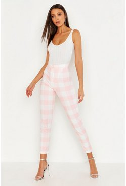 Womens Pink Tall Check Pants