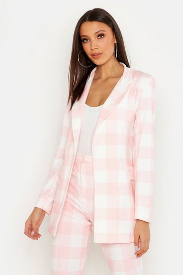 Womens Pink Tall Check Tailored Blazer