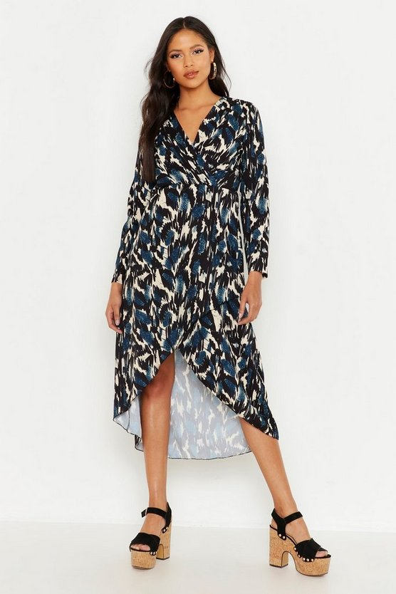Womens Denim Tall Abstract Print Wrap Midi Dress