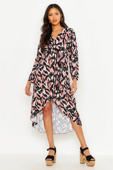 Womens Pink Tall Abstract Print Wrap Midi Dress