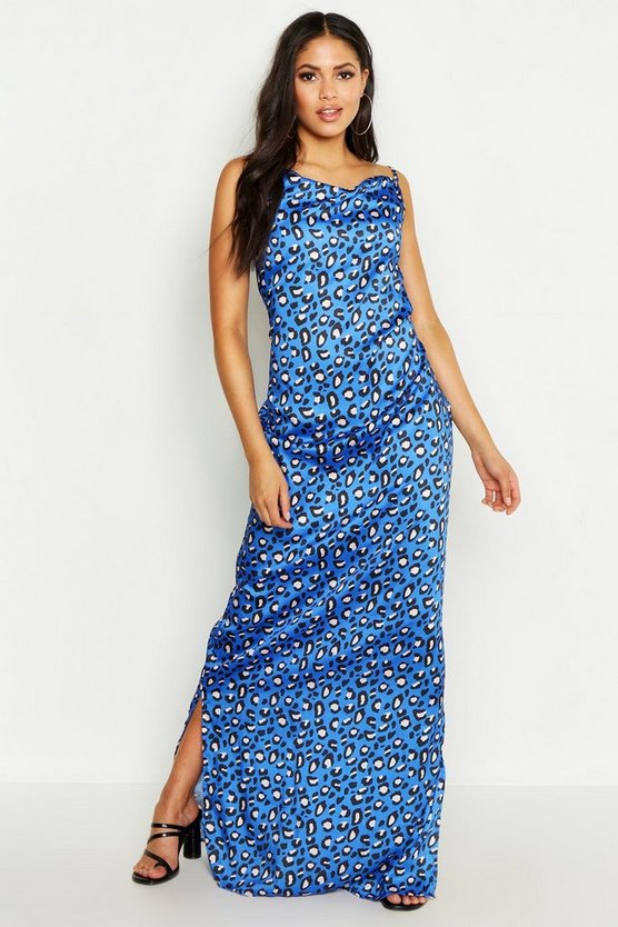 Womens Blue Tall Strappy Cowl Leopard Print Beach Maxi Dress