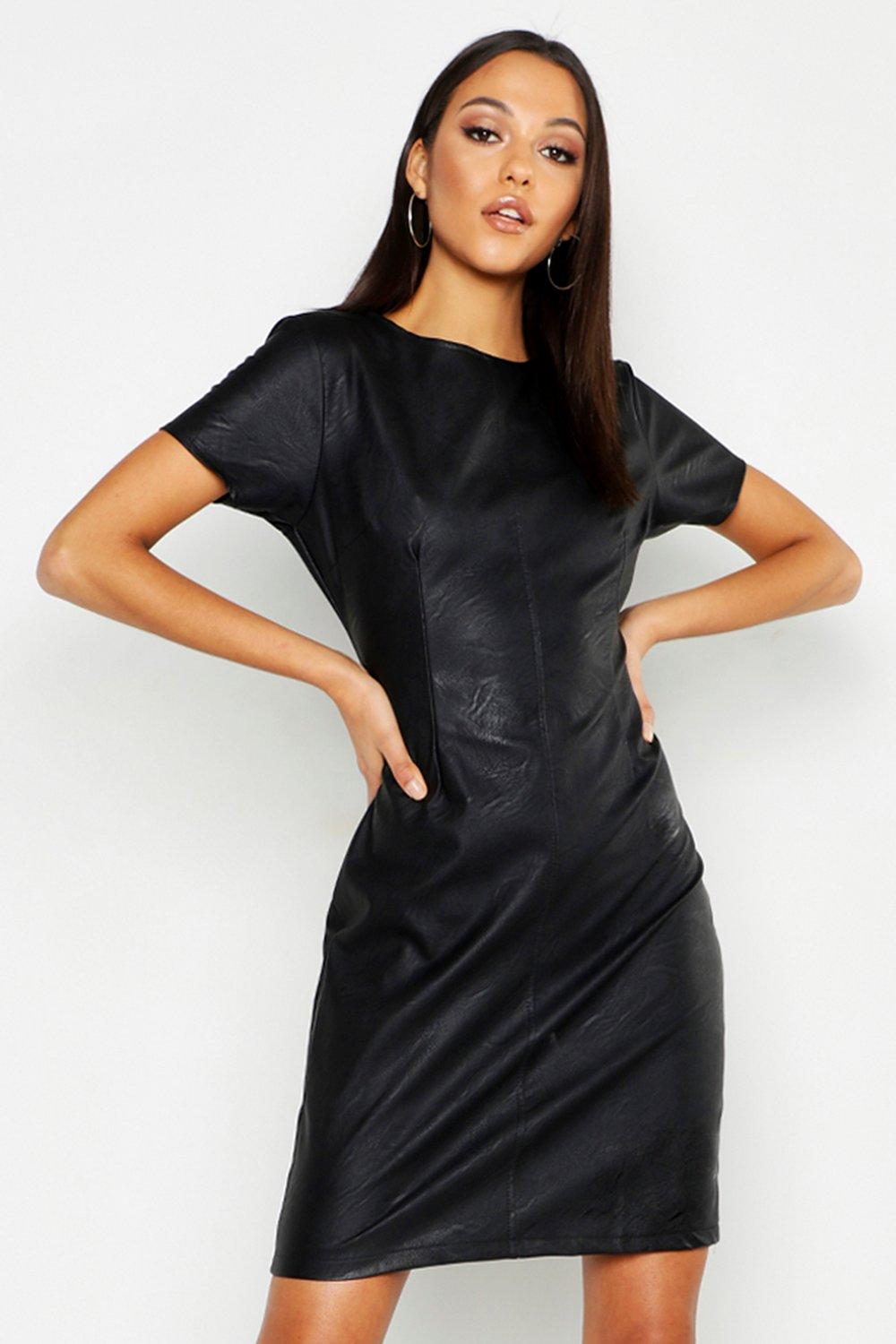 Tall Faux Leather Shift Dress
