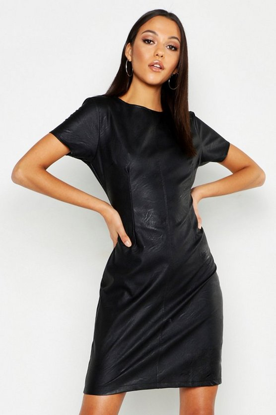 Womens Black Tall Faux Leather Shift Dress