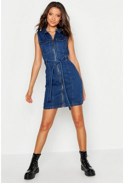 Tall Sleeveless Tie Waist Denim Dress, Mid blue