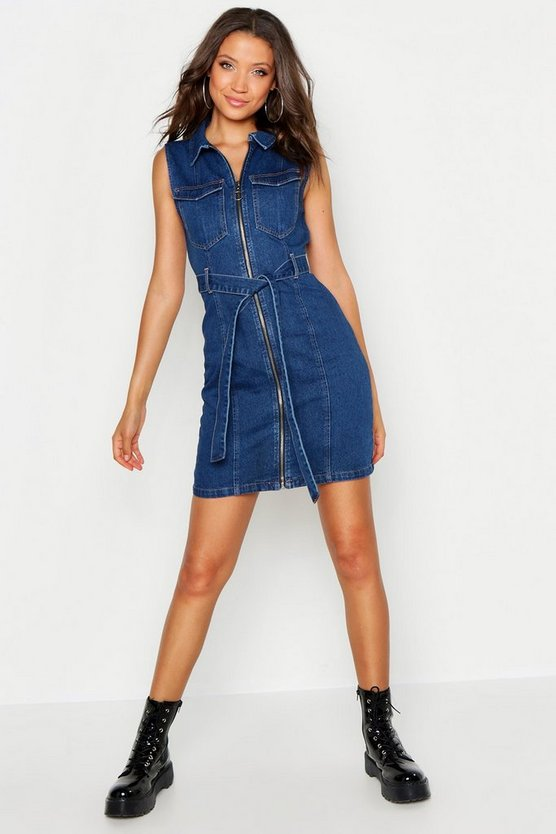 Womens Mid blue Tall Sleeveless Tie Waist Denim Dress