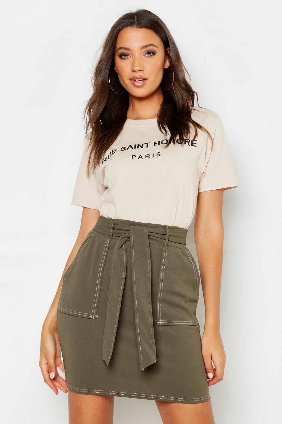 d7a29e1aa6c4bf Tall Contrast Stitch Utility Mini Skirt | Boohoo