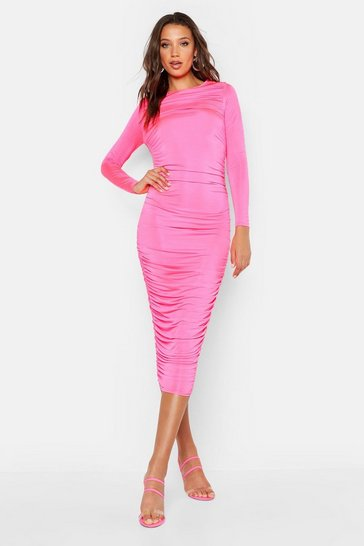 Womens Hot pink Tall Ruched Side Midi Dress