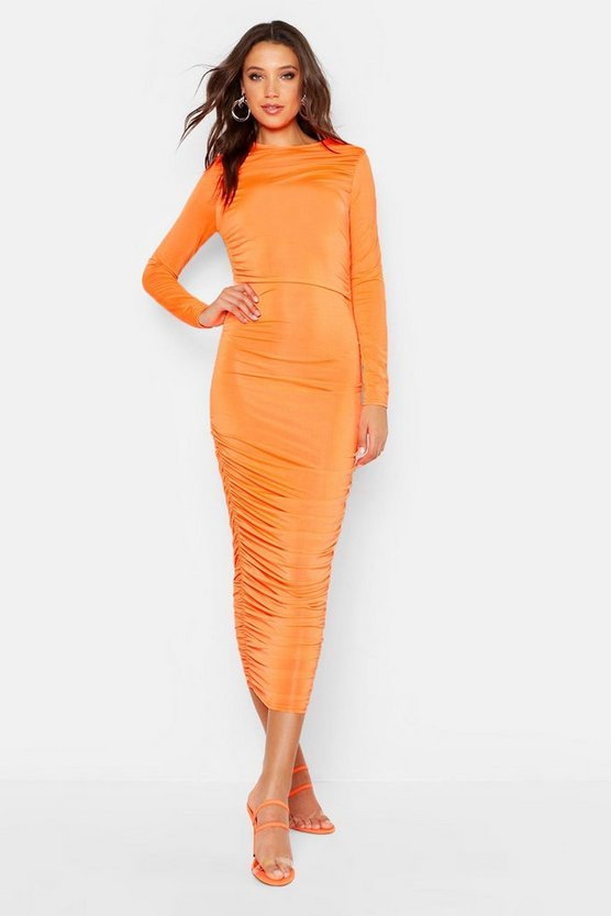 Womens Neon-orange Tall Ruched Side Midi Dress