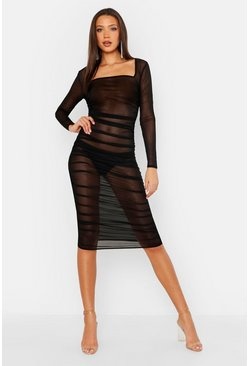 Womens Black Tall Mesh Square Neck Bodycon Ruched Dress