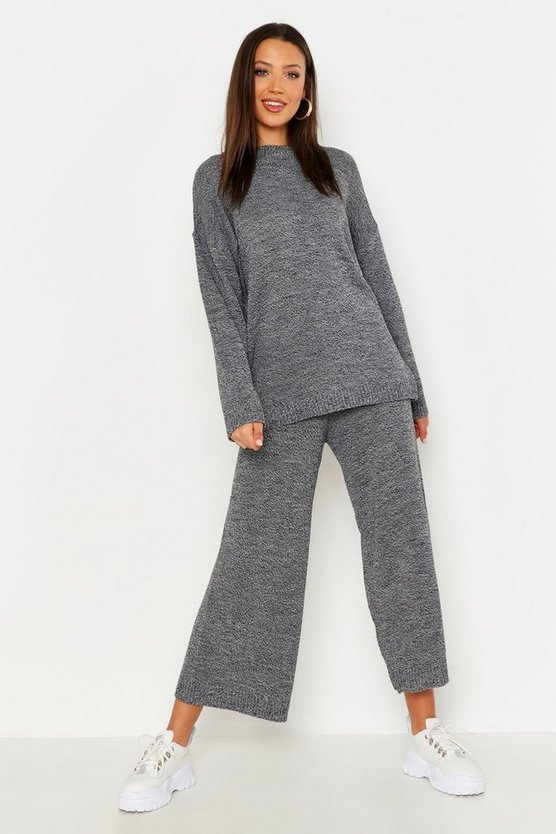 Black Tall Marl Knit Culotte Lounge Set