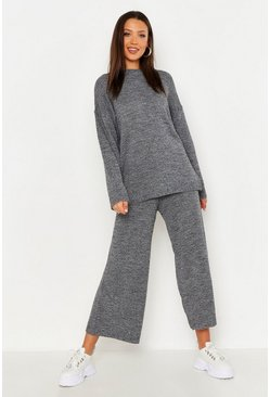 Womens Black Tall Marl Knit Culotte Lounge Set
