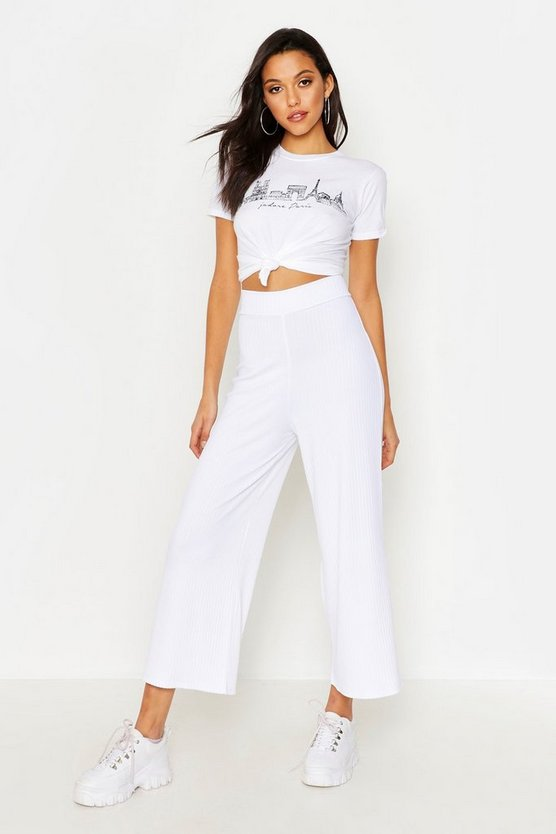 Womens White Tall Jumbo Rib Culottes